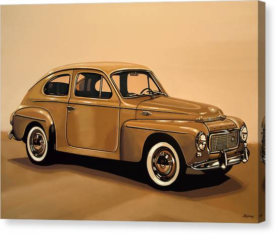 Realism Art Canvas Print - Volvo Pv 544 1958 Painting by Paul Meijering