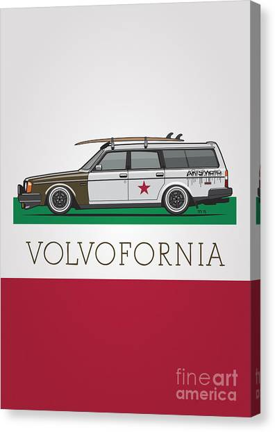 Planet Canvas Print - Volvofornia Slammed Volvo 245 240 Wagon California Style by Monkey Crisis On Mars