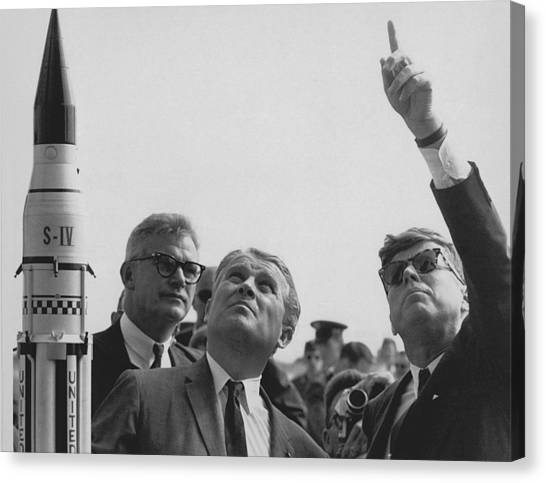 Saturn Canvas Print - Von Braun And Jfk Looking Towards The Sky by War Is Hell Store