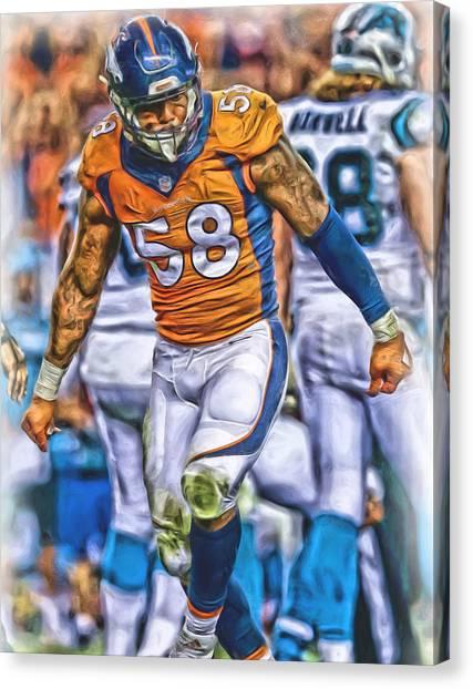 Denver Broncos Canvas Print - Von Miller Broncos Oil Art by Joe Hamilton