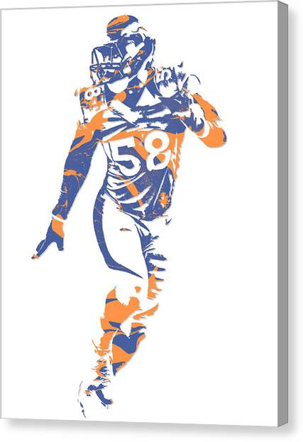 Denver Broncos Canvas Print - Von Miller Denver Broncos Pixel Art 10 by Joe Hamilton
