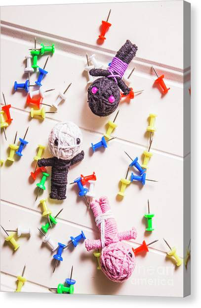 Multi Canvas Print - Voodoo Dolls Surrounded By Colorful Thumbtacks by Jorgo Photography - Wall Art Gallery