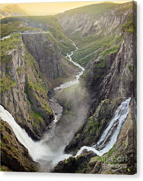 Voringsfossen Waterfall And Canyon Canvas Print