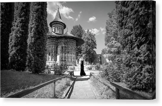 Voronet Monastery - Romania - Black And White Photography Canvas Print by Giuseppe Milo
