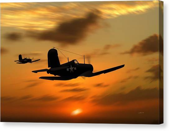 Vought Corsairs At Sunset Canvas Print