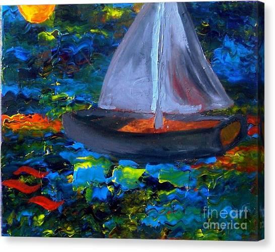 Voyage With A Sea Serpent Canvas Print by Karen L Christophersen