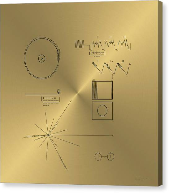 Pulsar Canvas Print - Voyager Golden Record Cover by Serge Averbukh