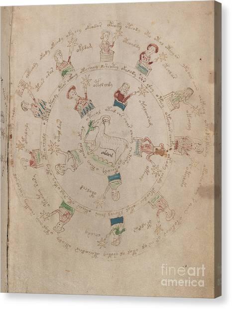 Voynich Manuscript Astro Aries Canvas Print