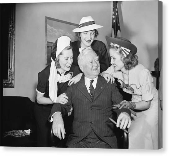 Democratic Politicians Canvas Print - Vp Garner Greets Beauty Queens by Harris & Ewing