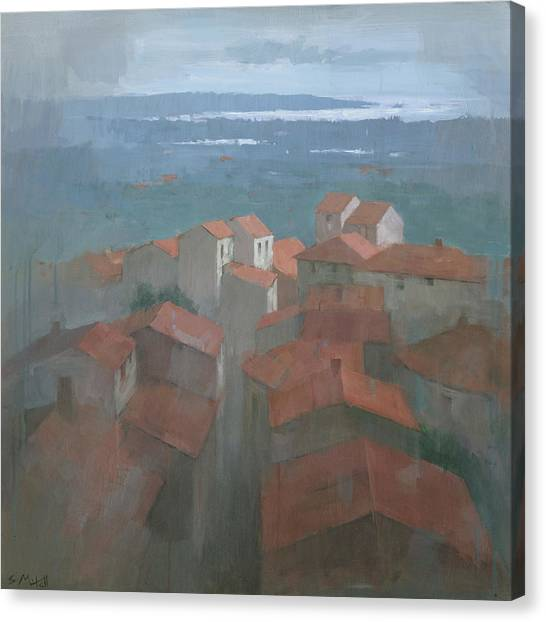 Canvas Print featuring the painting Vrsar, Croatia by Steve Mitchell