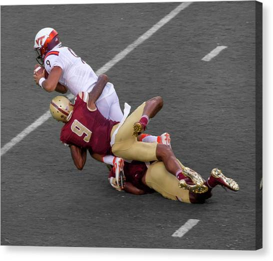 Boston College Canvas Print - Vt Takes Boston To School 49 0 by Betsy Knapp