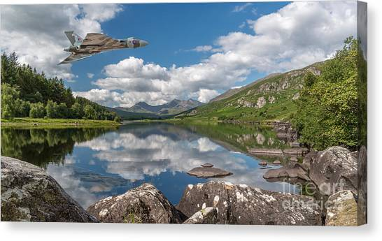 Vulcans Canvas Print - Vulcan Over Lake by Adrian Evans
