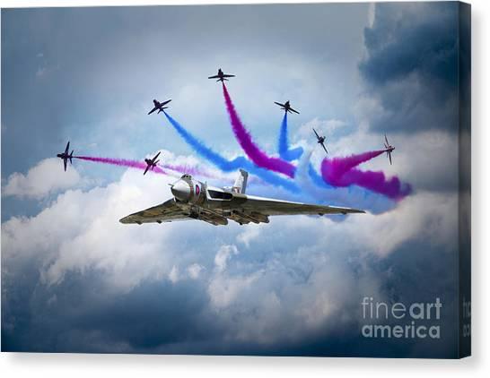 Vulcans Canvas Print - Vulcan Red Arrows Break by J Biggadike