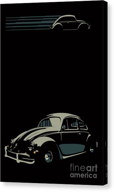 Canvas Print featuring the digital art Vw Beatle by Sassan Filsoof