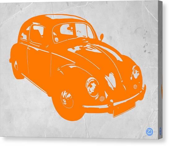 Muscles Canvas Print - Vw Beetle Orange by Naxart Studio