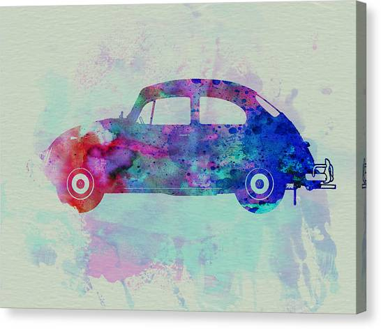 Bugs Canvas Print - Vw Beetle Watercolor 1 by Naxart Studio