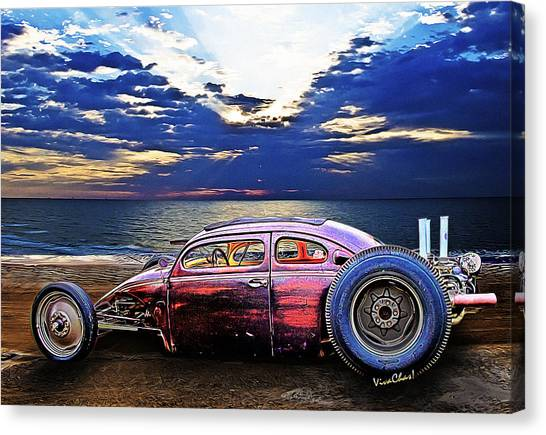 Rat Rod Surf Monster At The Shore Canvas Print
