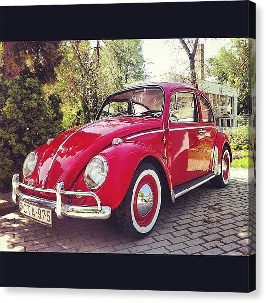 Volkswagen Canvas Print - #vw #volkswagen #kafer #oldtimer by Gergely Maller