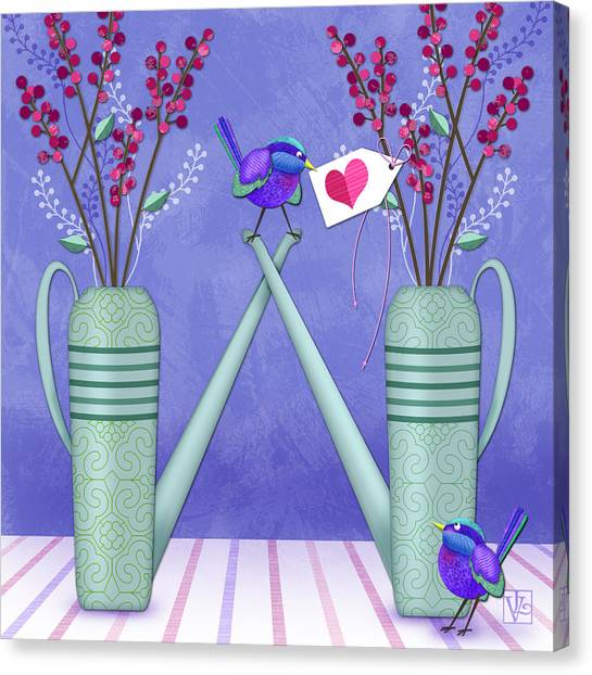 Wild Berries Canvas Print - W Is For Watering Cans And Wonderful Wrens by Valerie Drake Lesiak