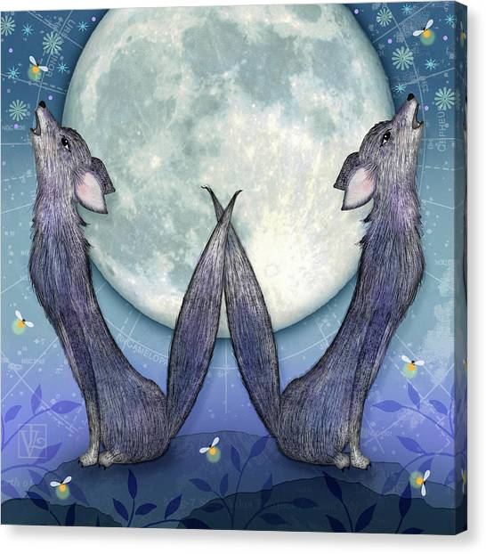 Wolf Moon Canvas Print - W Is For Wolves by Valerie Drake Lesiak