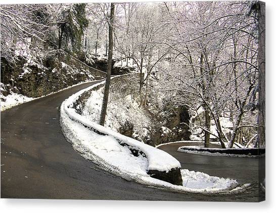 W Road In Winter Canvas Print