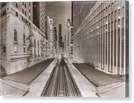 Chicago Fire Canvas Print - Wabash And Adams -l- Cta Station And Trump International Tower Hotel At Dawn- Chicago Ilinois by Silvio Ligutti