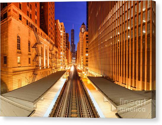 Chicago Fire Canvas Print - Wabash And Adams -l- Cta Station And Trump International Tower Hotel At Dawn- Chicago Illinois by Silvio Ligutti