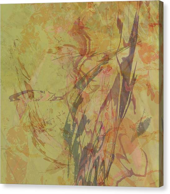 Wabi Sabi Ikebana Rose On Yellow Green Canvas Print