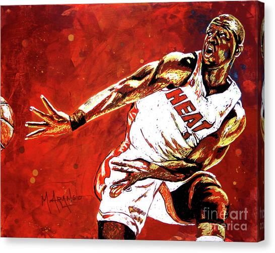 Miami Heat Canvas Print - Wade Passes by Maria Arango
