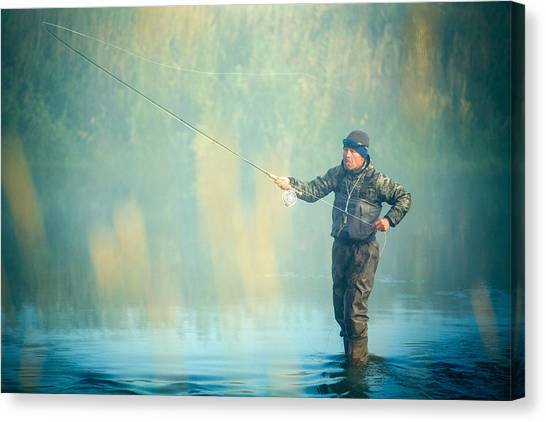 Fishing Poles Canvas Print - Wading For Trout by Todd Klassy