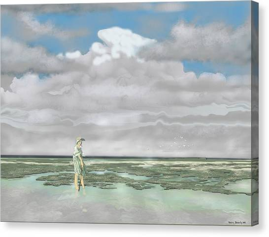 Wading The Salt Flats Canvas Print