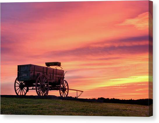 Wagon Afire Canvas Print