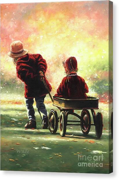 Big Sister Canvas Print - Wagon Ride Two Sisters by Vickie Wade