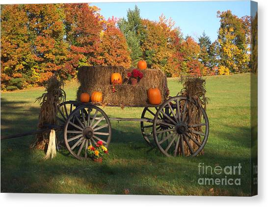 Wagon Sunny Fall Day Canvas Print