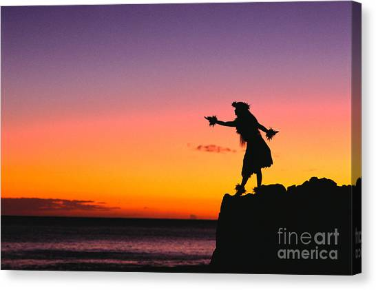 Hawaii Canvas Print - Wahine Hula Dancer by William Waterfall - Printscapes