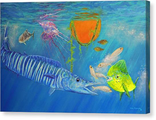 Wahoo Dolphin Painting Canvas Print