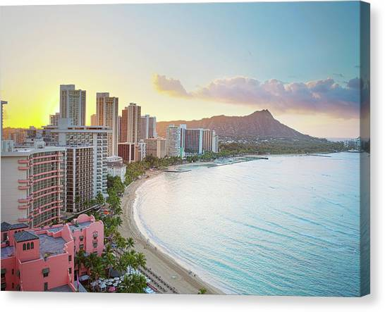 Hawaii Canvas Print - Waikiki Beach At Sunrise by Monica and Michael Sweet