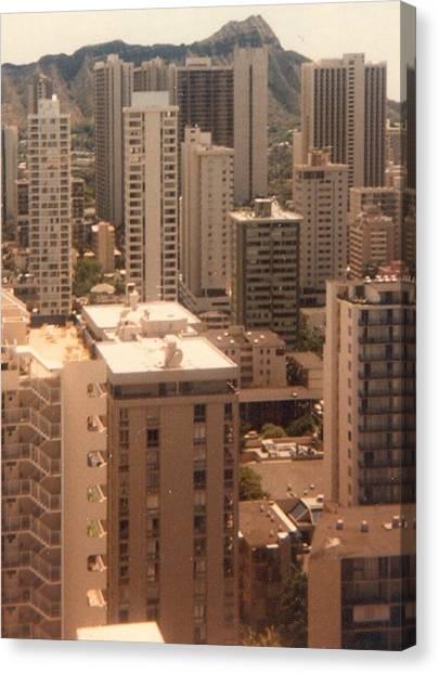 Waikiki Hotels And Diamond Head Canvas Print