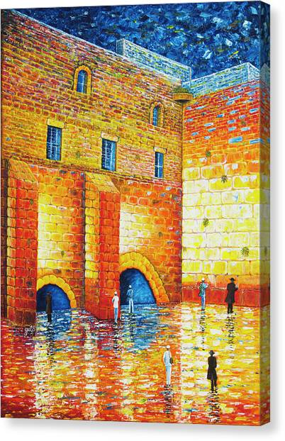 Canvas Print featuring the painting Wailing Wall Original Palette Knife Painting by Georgeta Blanaru