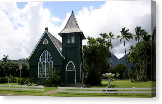 Wai'oli Hui'ia Church Canvas Print by Annie Babineau