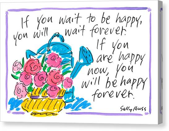 Spring Canvas Print - Wait To Be Happy by Sally Huss