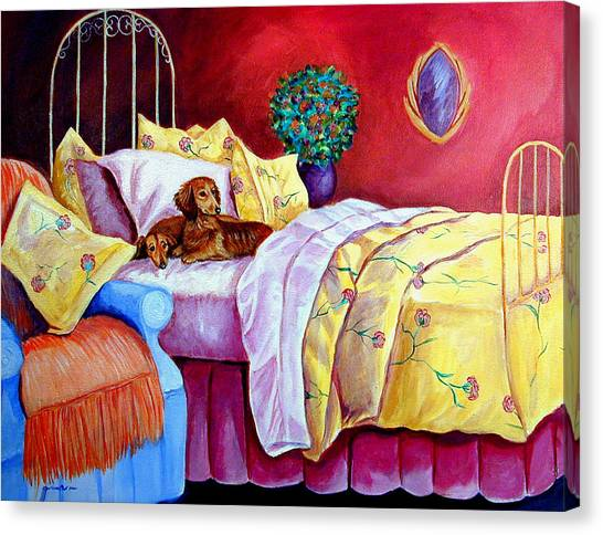 Dachshunds Canvas Print - Waiting For Mom - Dachshund by Lyn Cook