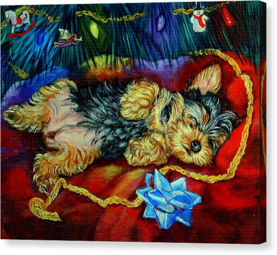 Yorkshire Terrier Canvas Print - Waiting For Santa Yorkshire Terrier by Lyn Cook