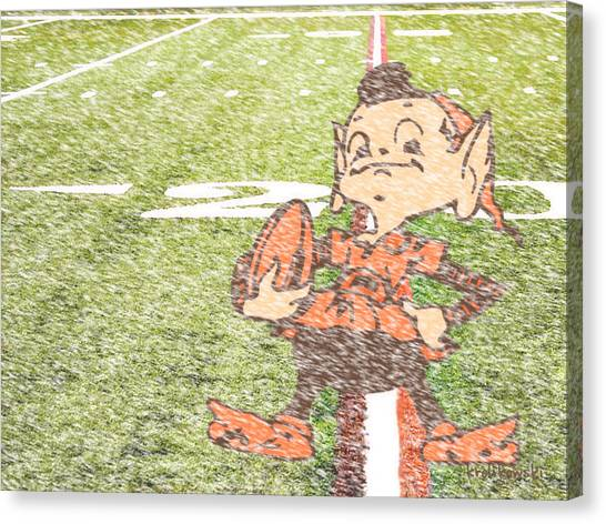 Cleveland Browns Canvas Print - Waiting For Sunday by Kenneth Krolikowski