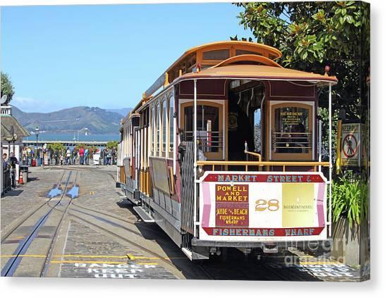 Waiting For The Cablecar At Fishermans Wharf San Francisco California 7d14099 Canvas Print