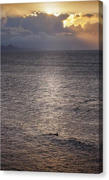 Waiting For The Last Wave Of The Day Canvas Print