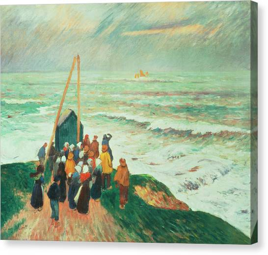 Anticipation Canvas Print - Waiting For The Return Of The Fishermen In Brittany by Henry Moret