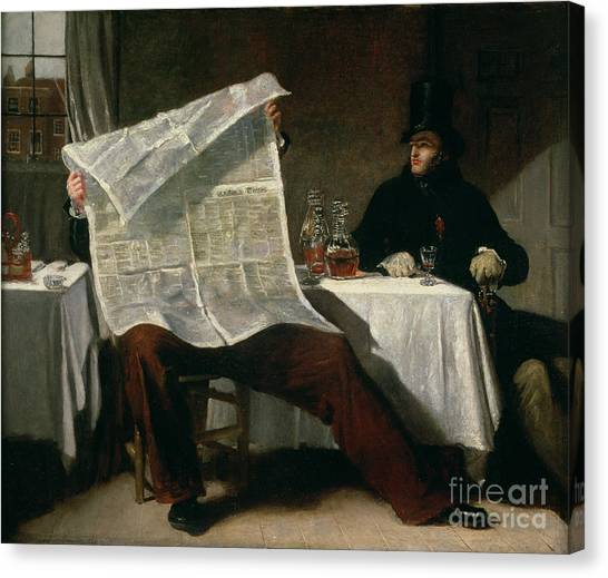 Anxious Canvas Print - Waiting For The Times by Benjamin Robert Haydon