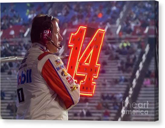 Stewart-haas Racing Canvas Print - Waiting For Tony Stewart To Pit by Paul Quinn