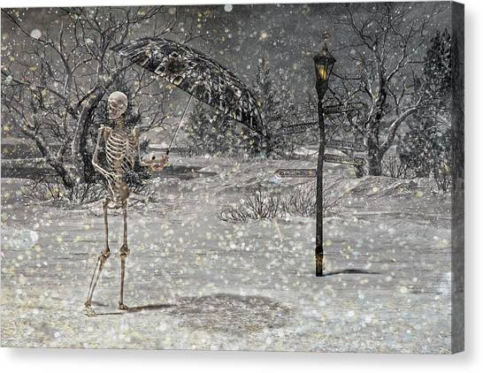 Winter Fun Canvas Print - Waiting On A Friend by Betsy Knapp